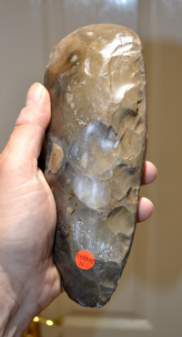 "An enormous, heavy and magnificent, ""Museum quality"" Neolithic knapped and polished flint axe from Coltishall, Norfolk. SOLD"